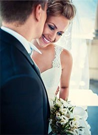 Andre Chreky bridal hair makeup duo on bride