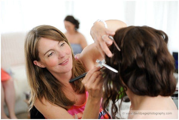 Coming bride at hair and makeup artist's bridal service