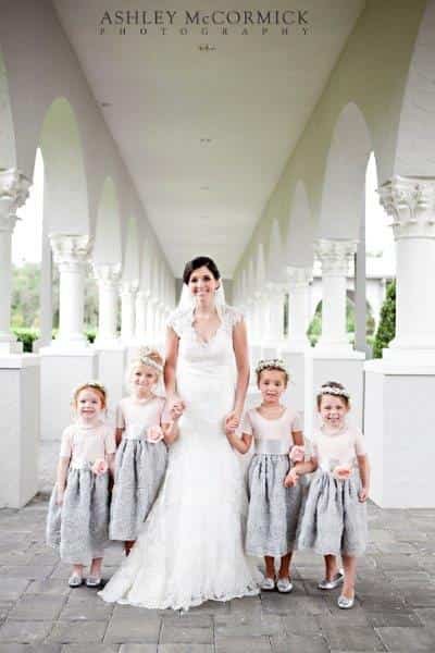 Bride and four flower girls